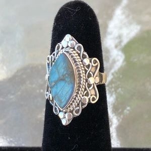 Labradorite Rough Sterling Silver Ring Sz 6 for sale